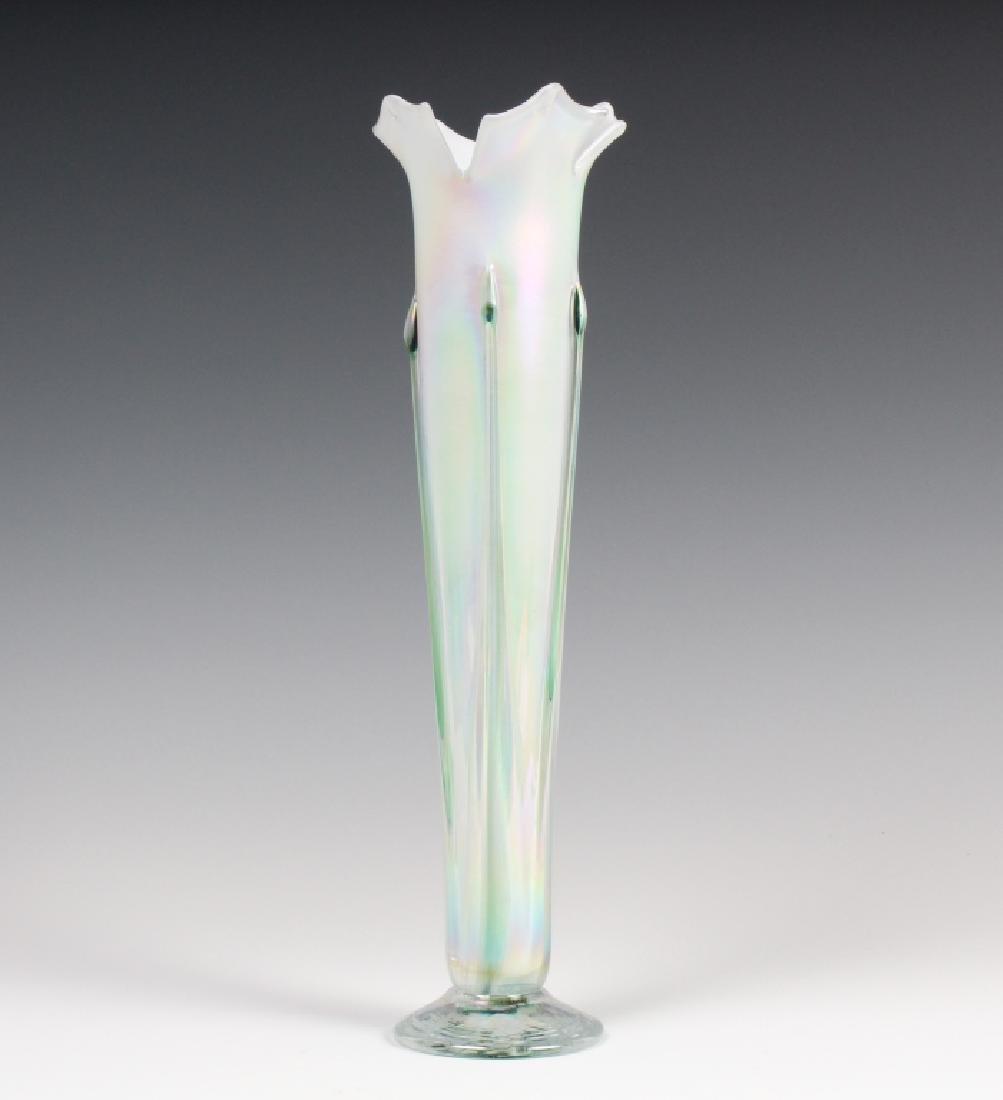 R. Mynott Studio Art Glass Iridescent Trumpet Vase