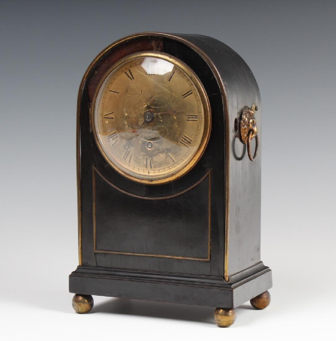 Antique Old English Wood Brass Mantle Shelf Clock