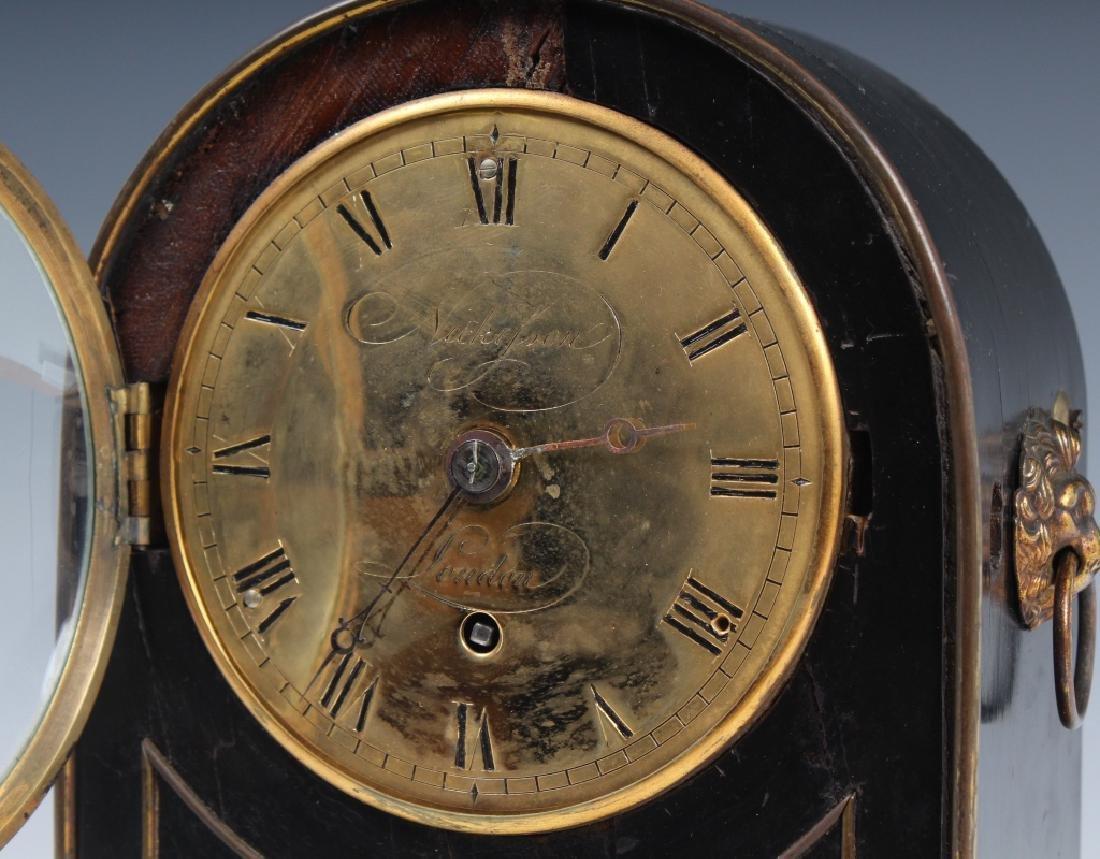 Antique Old English Wood Brass Mantle Shelf Clock - 3