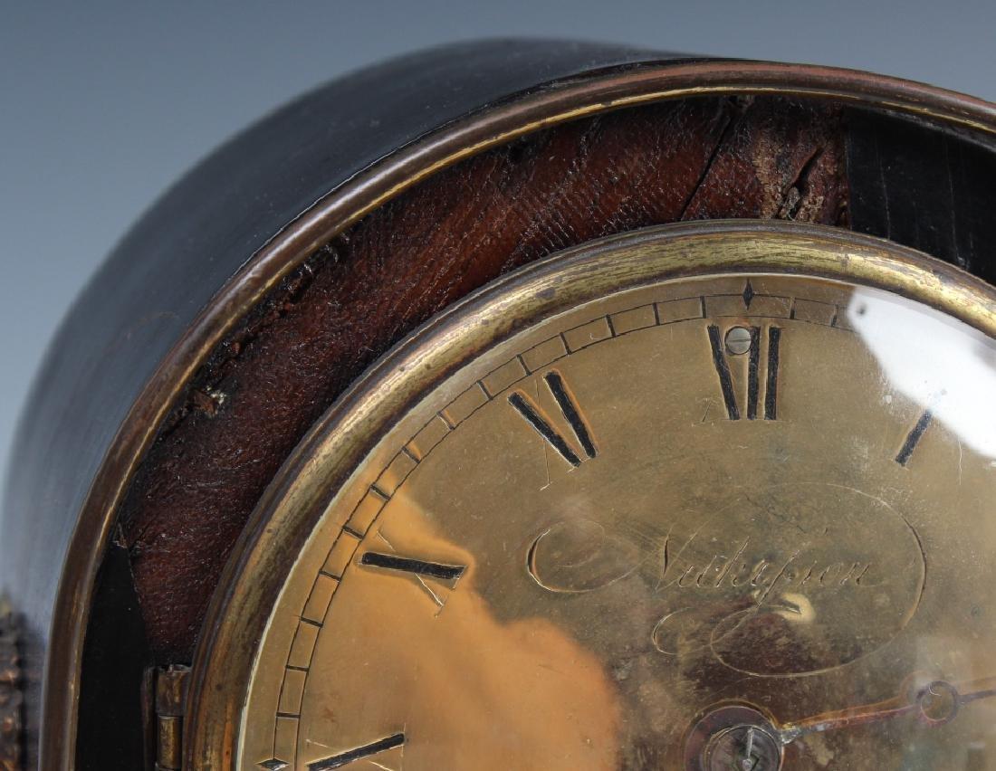 Antique Old English Wood Brass Mantle Shelf Clock - 4