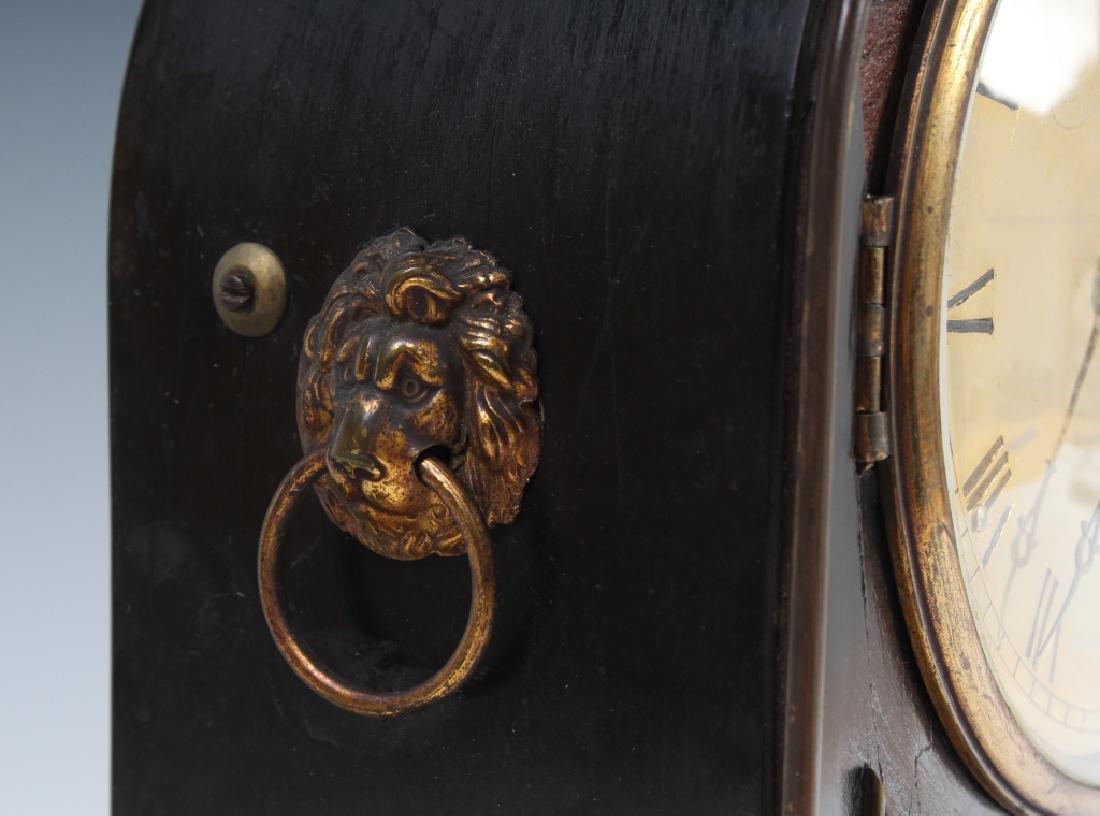 Antique Old English Wood Brass Mantle Shelf Clock - 5