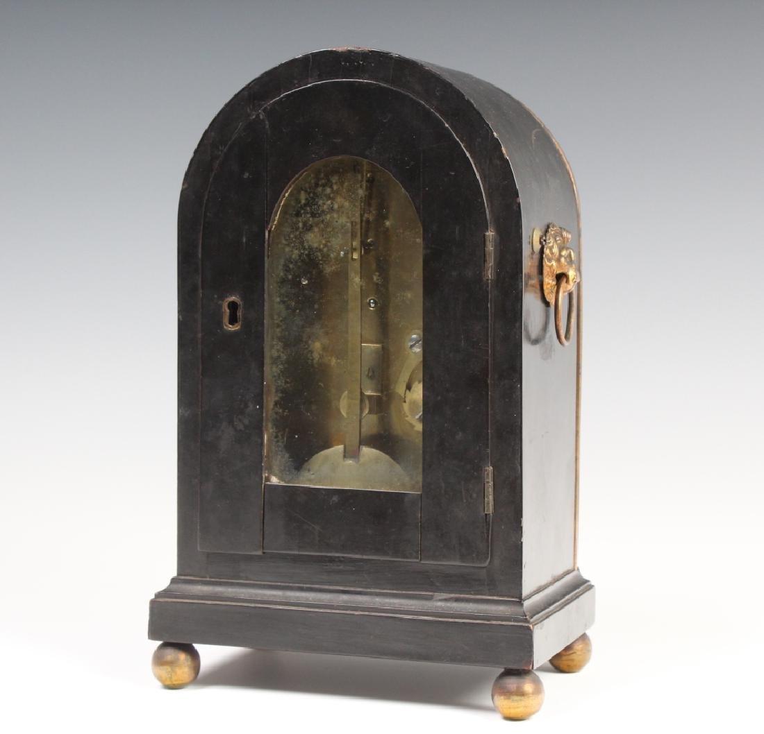 Antique Old English Wood Brass Mantle Shelf Clock - 6