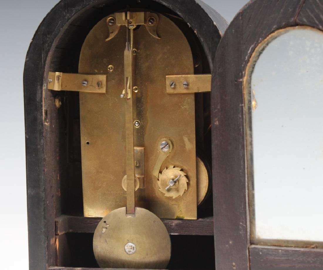 Antique Old English Wood Brass Mantle Shelf Clock - 7