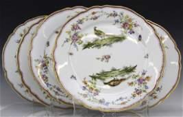 6 Dresden Porcelain Pheasant Bird Dinner Plate SET
