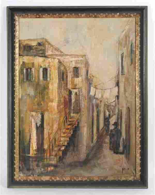 Signed Joseph Hayon Jerusalem Alley Oil Painting