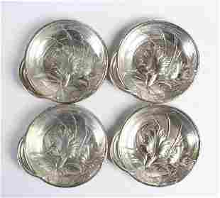 4 Wallace Sterling Silver Flower Repousse Ashtrays