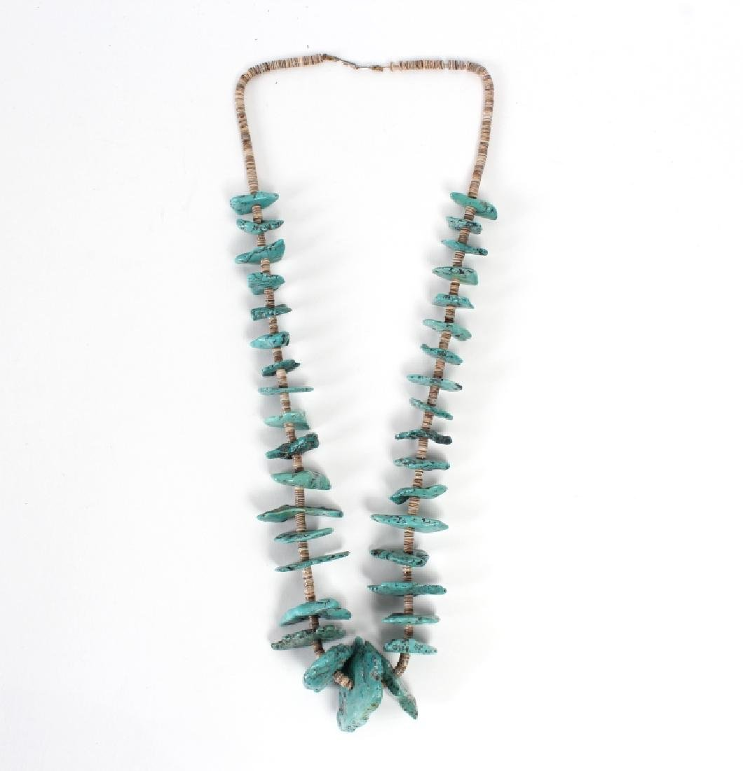 """Navajo Indian Turquoise Nugget Shell Necklace 30"""""""
