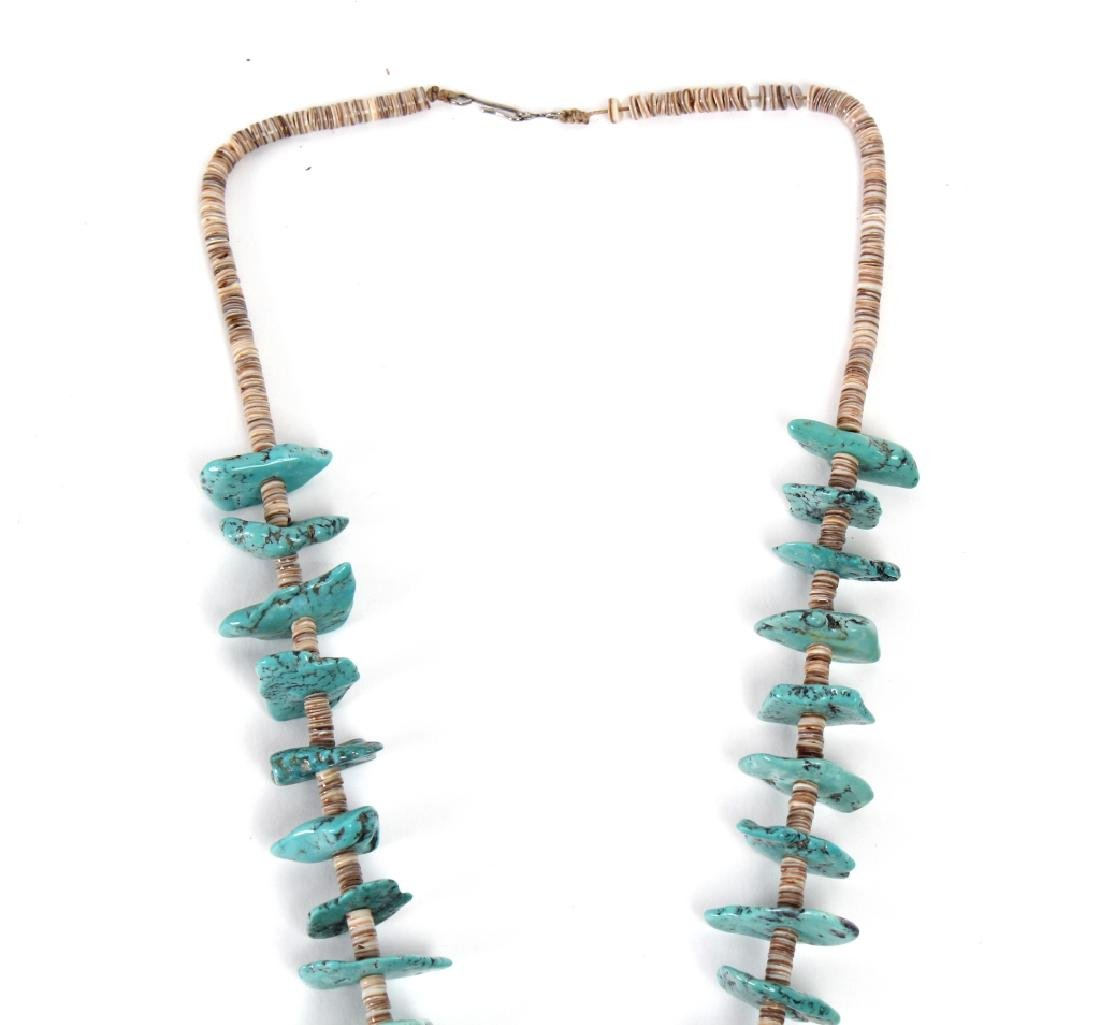 """Navajo Indian Turquoise Nugget Shell Necklace 30"""" - 2"""