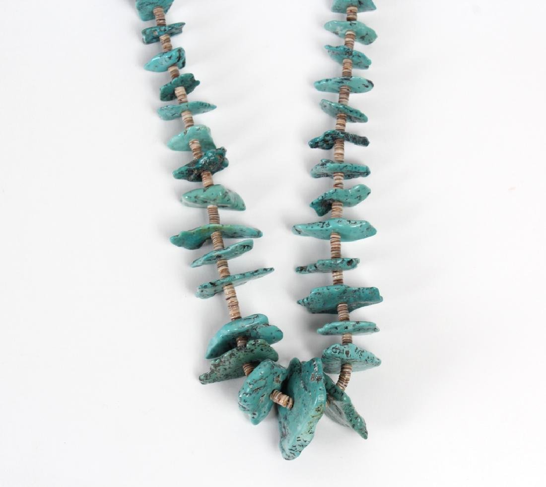 """Navajo Indian Turquoise Nugget Shell Necklace 30"""" - 3"""