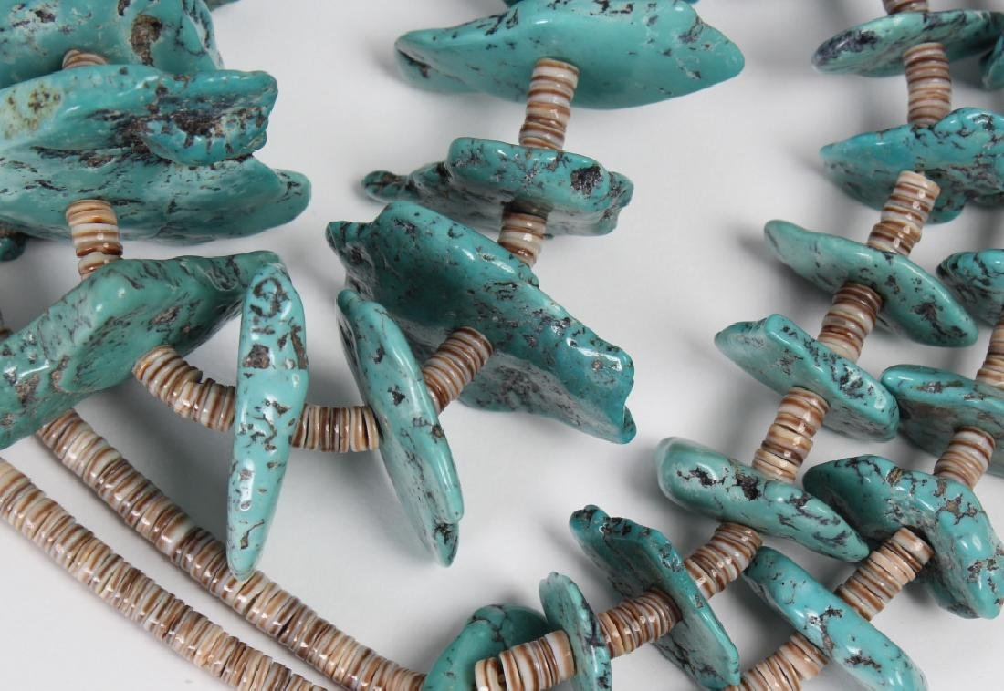 """Navajo Indian Turquoise Nugget Shell Necklace 30"""" - 5"""