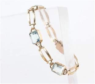 Retro Period 14kt Gold Emerald Cut Topaz Bracelet