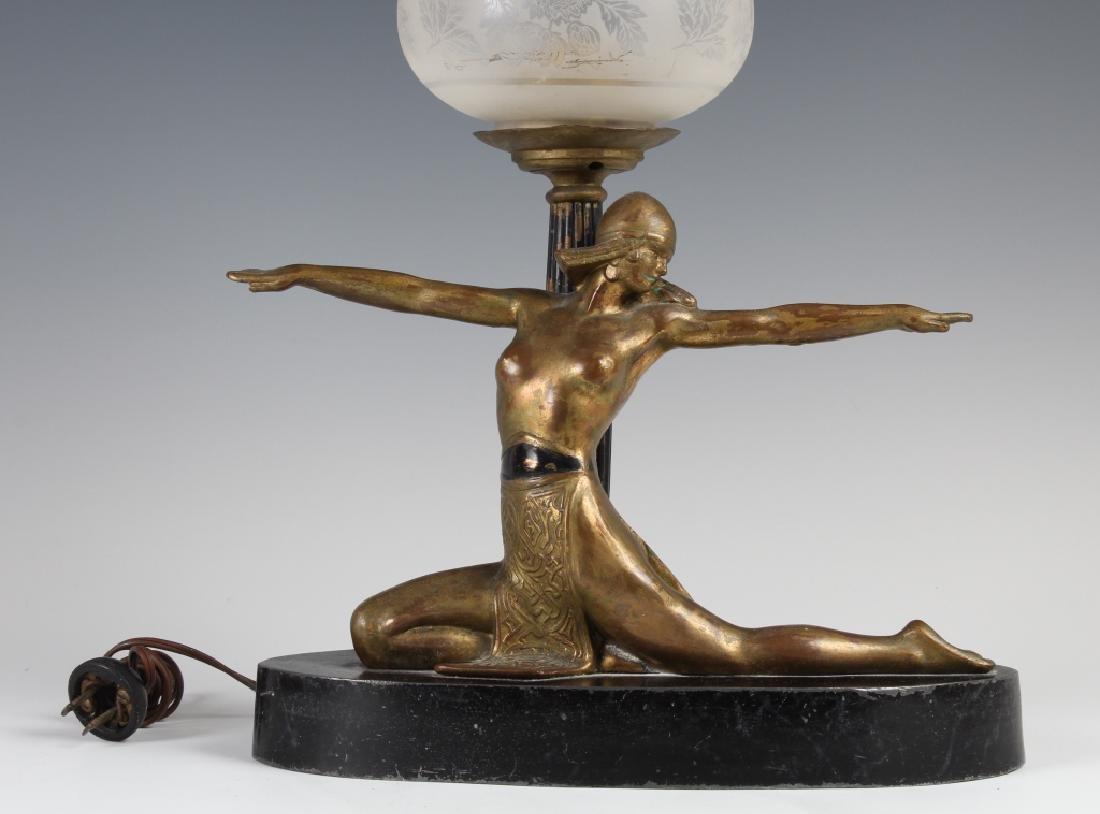 Antique Art Deco Semi Nude Female Metal Table Lamp - 2
