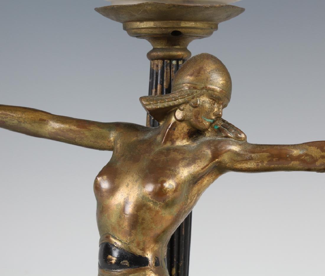 Antique Art Deco Semi Nude Female Metal Table Lamp - 3