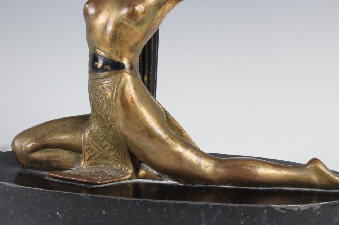 Antique Art Deco Semi Nude Female Metal Table Lamp - 4