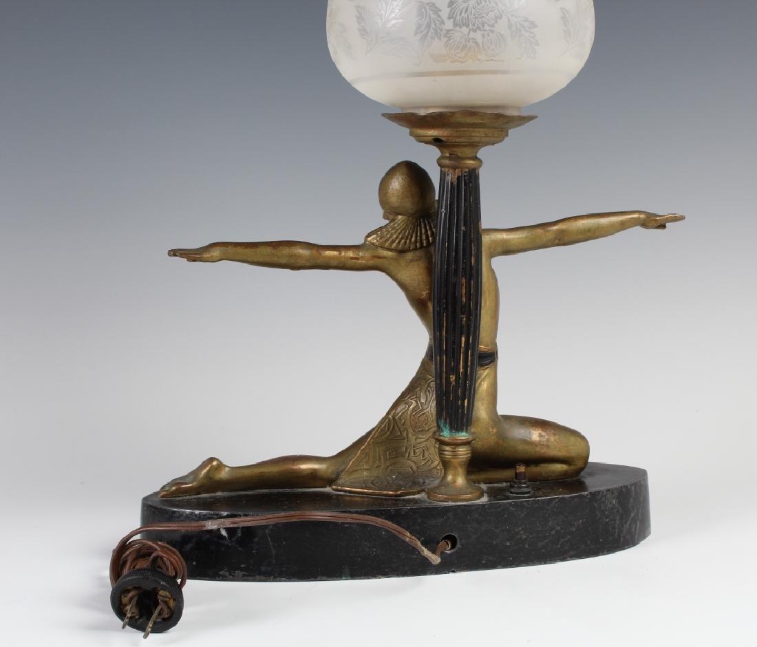 Antique Art Deco Semi Nude Female Metal Table Lamp - 6