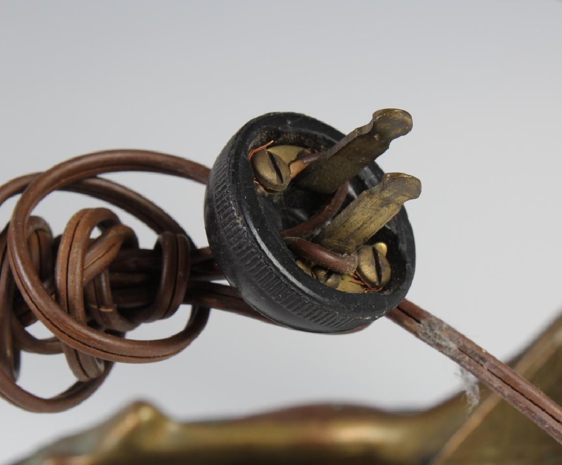 Antique Art Deco Semi Nude Female Metal Table Lamp - 9
