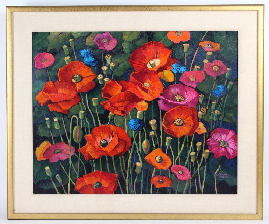 Donna Clair Poppy Fields Landscape Oil Painting