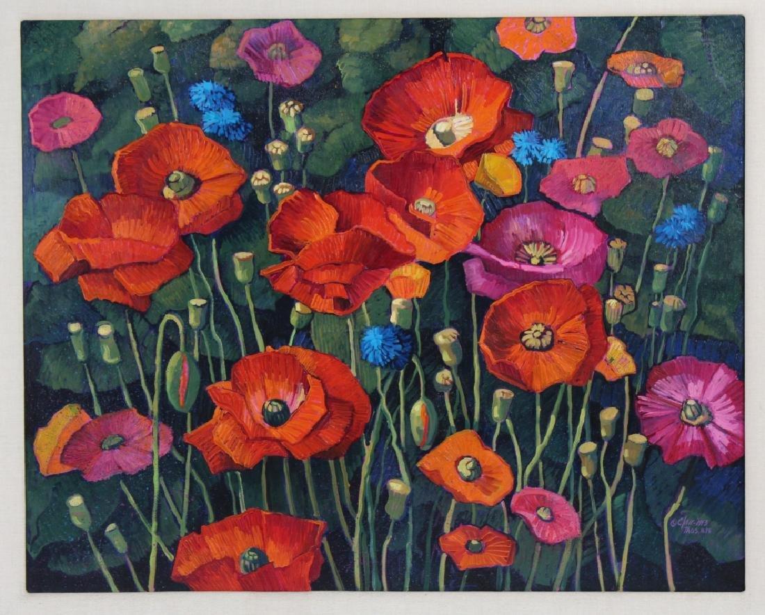 Donna Clair Poppy Fields Landscape Oil Painting - 2