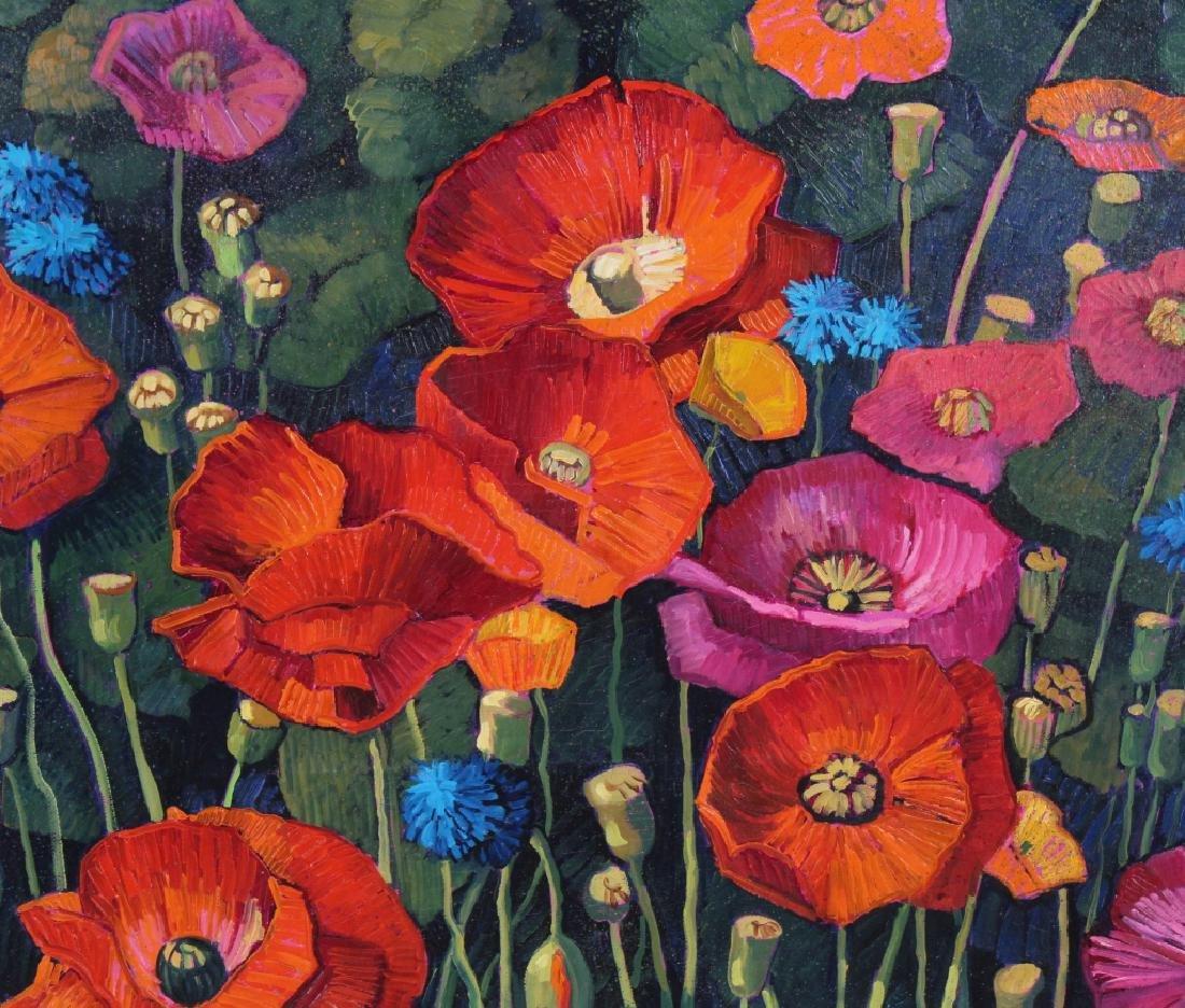 Donna Clair Poppy Fields Landscape Oil Painting - 3