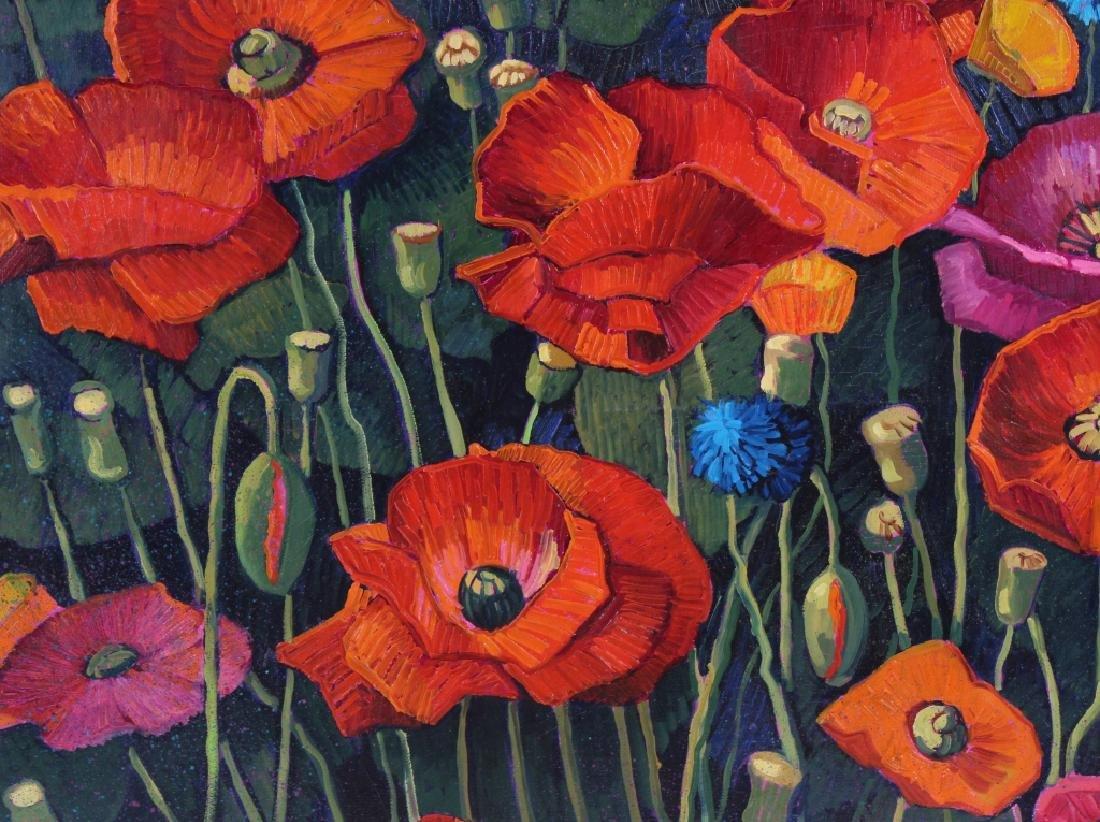 Donna Clair Poppy Fields Landscape Oil Painting - 4