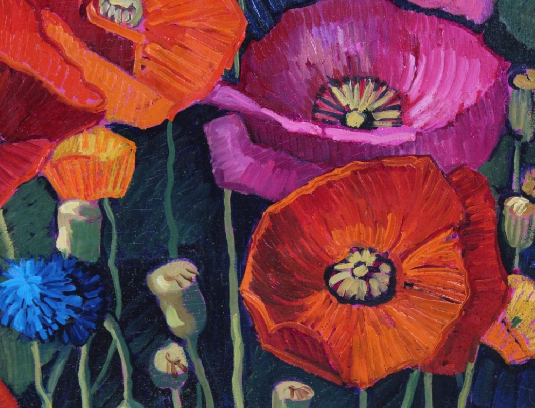 Donna Clair Poppy Fields Landscape Oil Painting - 5