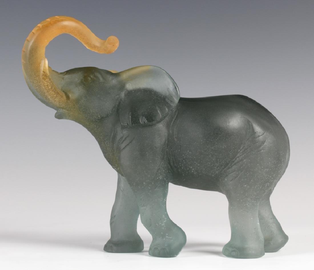 Daum France Art Glass Pate de Verre Lucky Elephant