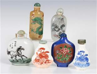 LOT of 6 Old Chinese Porcelain Glass Snuff Bottle
