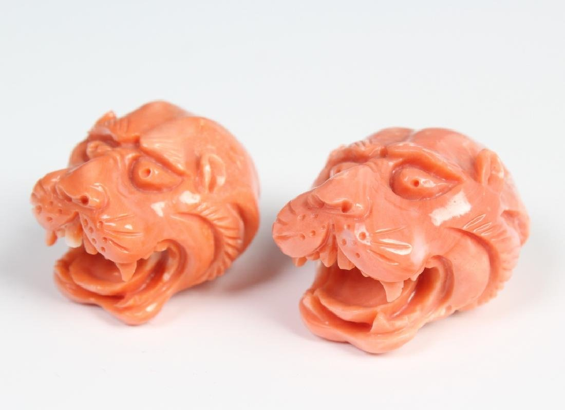 PAIR Carved Angle Skin Pink Coral Foo Dogs Finials