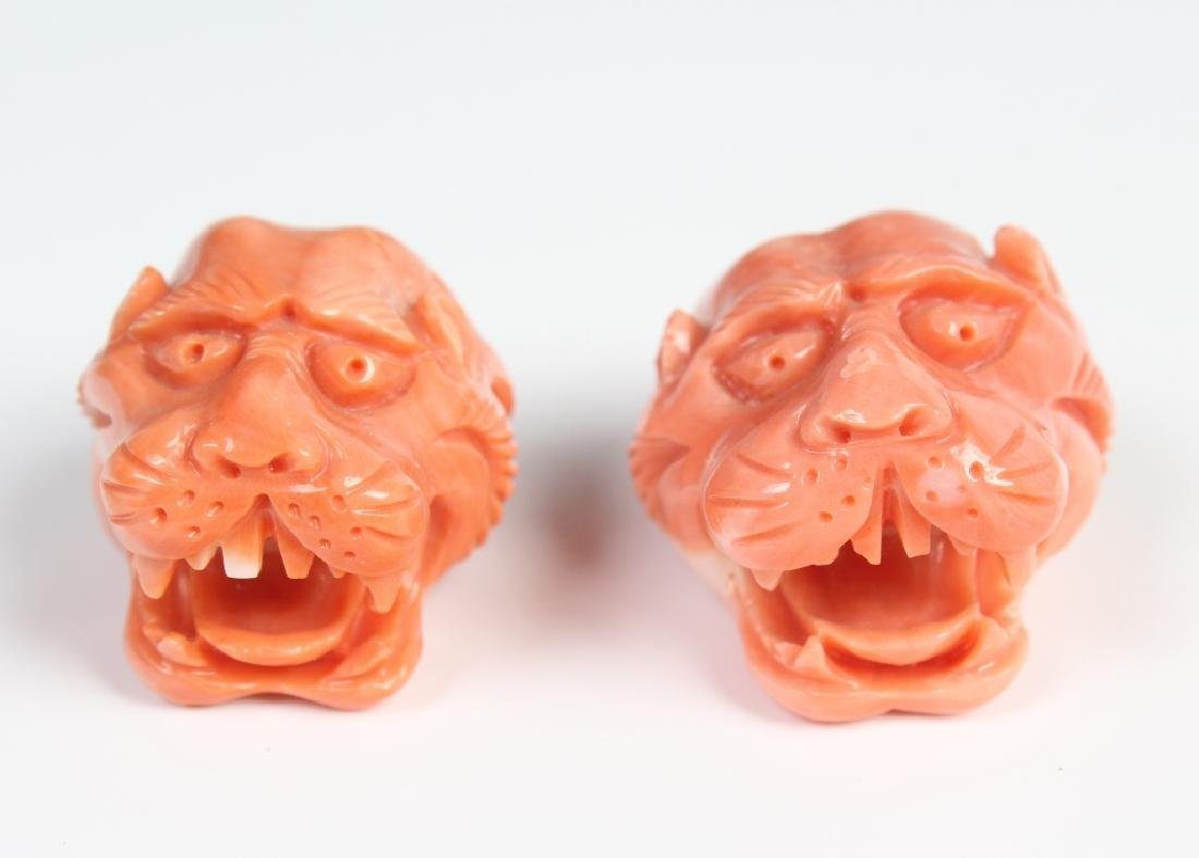 PAIR Carved Angle Skin Pink Coral Foo Dogs Finials - 3