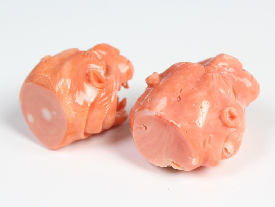 PAIR Carved Angle Skin Pink Coral Foo Dogs Finials - 4