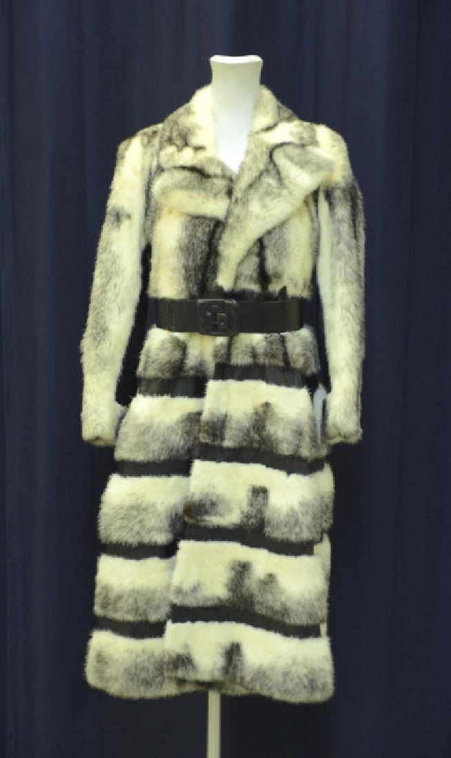 Christian Dior Fur Leather Knee High Jacket Coat