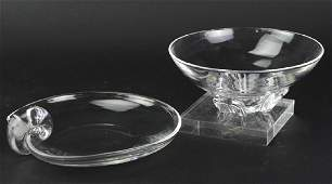 2 Steuben American Art Glass Crystal Modern Bowls