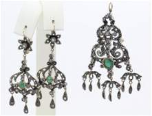 Victorian Style Diamond Emerald Earrings w Pendant