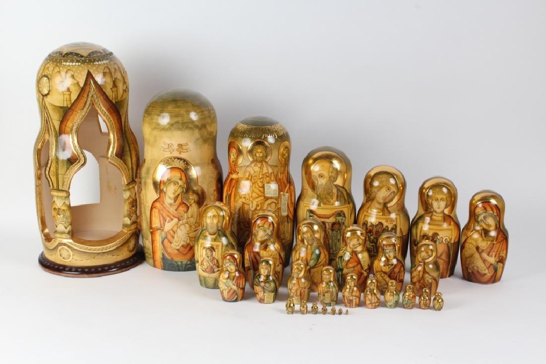 RARE 30 Pcs Matryoshka Russian Icon Nesting Dolls