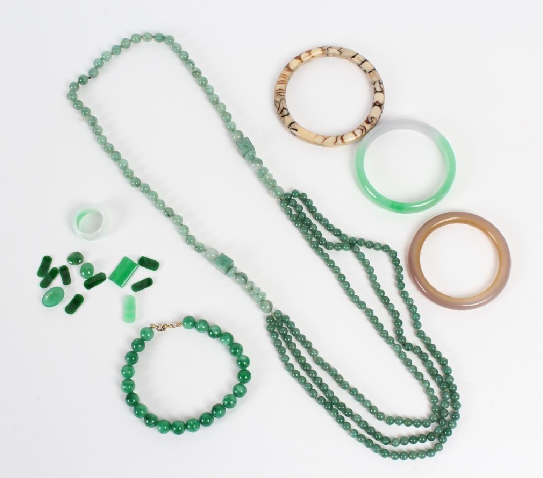 18pc LOT Jade & Aventurine & Bone Jewelry Stones