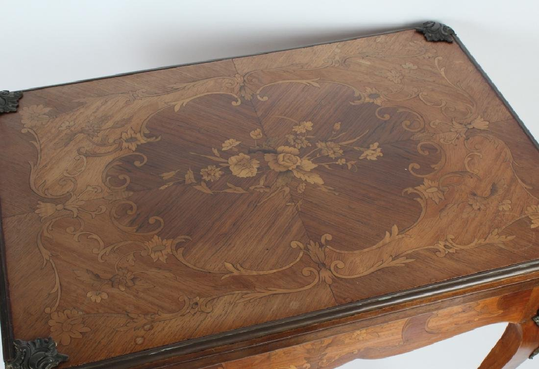 Antique Marquetry Wood Inlay Poker Card Game Table - 3