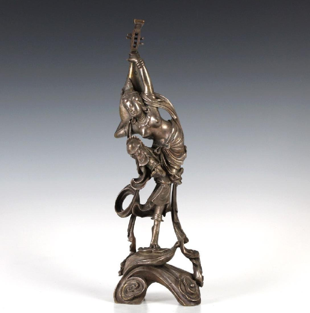 Chinese Silvered Bronze Dancer Pipa Sculpture 13""