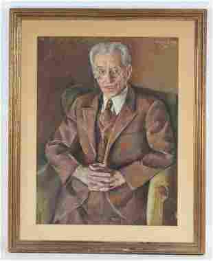 LOUIS LEVINE Gentlemans Portrait Pastel Drawing