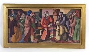N. Carley Mystery Artist Cubist Oil Painting