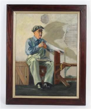 Mystery Artist Handy Old Man Portrait Oil Painting