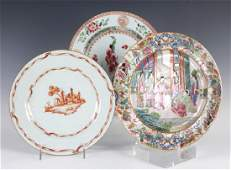 LOT 3 Antique Chinese Export Plates w Famille Rose