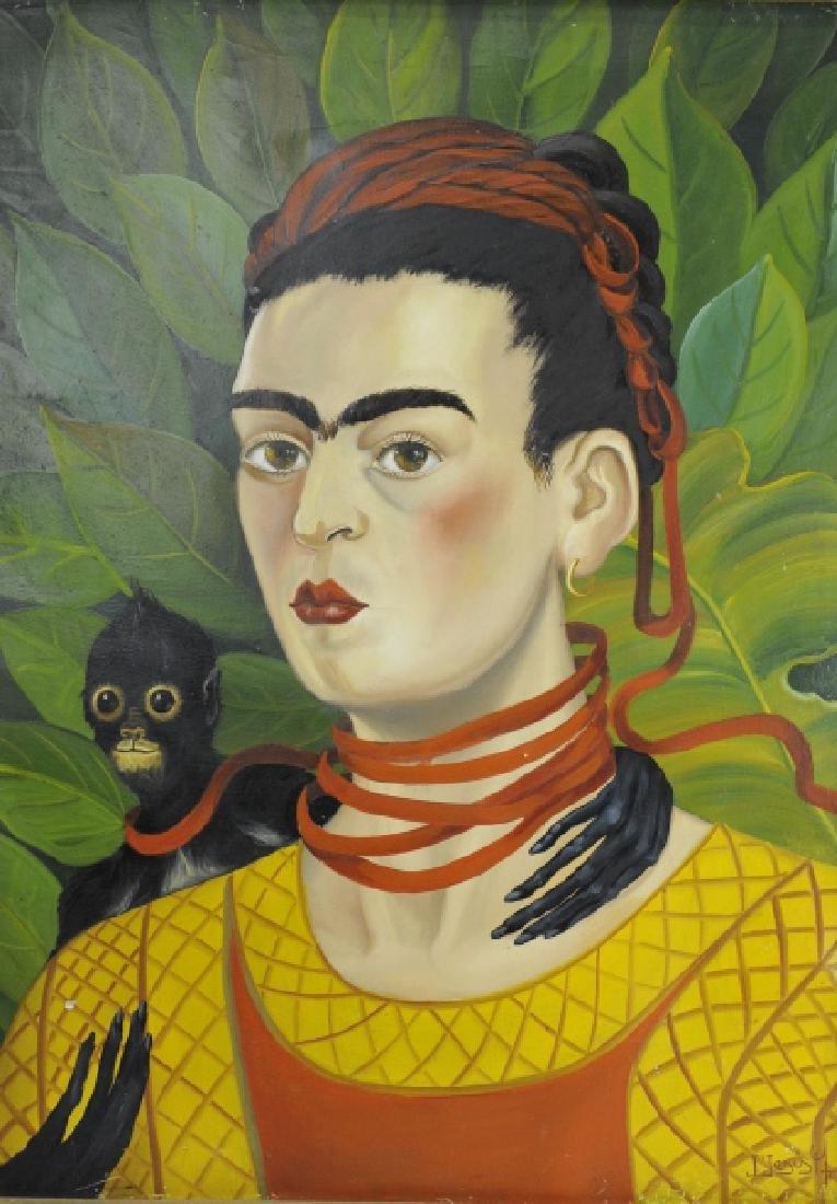 Original Frida Kahlo Portrait Oil Painting FRAMED - 2