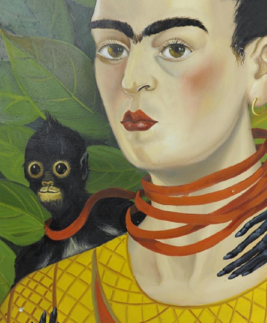 Original Frida Kahlo Portrait Oil Painting FRAMED - 3