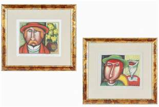 LOT of 2 MYSTERY Art Russian Expressionist Print