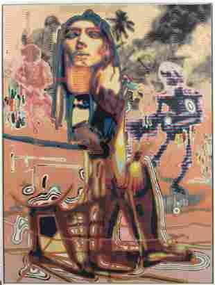 Markus Oehlen (b.1956) German 79x59 Surreal Painting