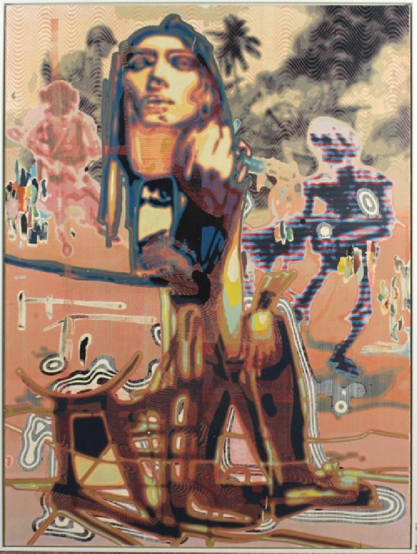 Markus Oehlen (b.1956) German 79x59 Surreal Painting - 4