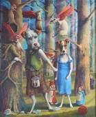 Jo Ellen Trilling American Surreal Dogs Painting