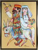 Jovan Obican (1918-1986) Judaica Art Oil Painting