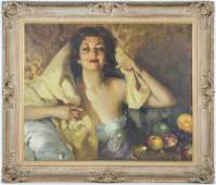 Jose Cruz Herrera (1890-1972) Spanish Art Oil Portrait