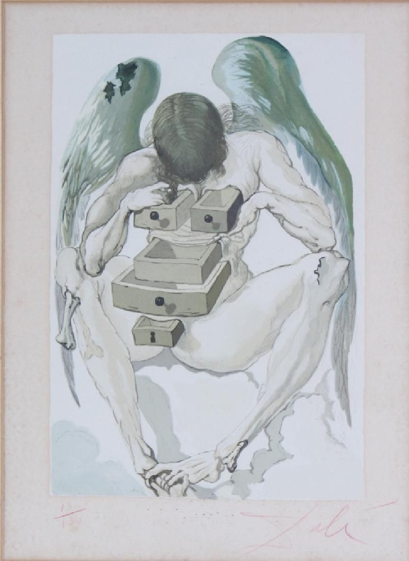 Salvador Dali Winged Man with Drawers Litho Art SIGNED